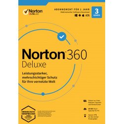 Norton 360 Deluxe   3 Geräte   1 Jahr Schutz   25 GB   kein Abo