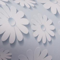 blau mit weißen blüten